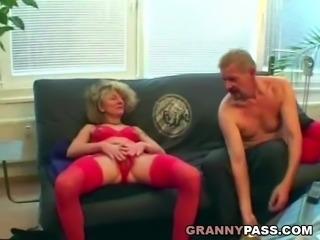 Horny granny fucks her guests