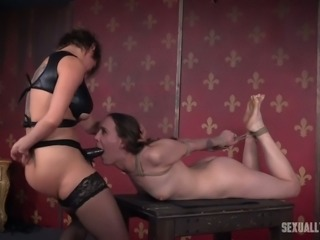 White auburn haired chick bound in shibari style and facefucked hard