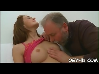 Young playgirl sucks and rides old rod