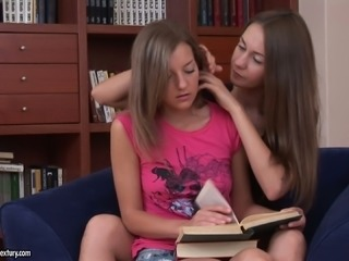 Sweet Lana gets seduced by another hoe while studying at home
