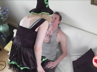 Costumed tranny cutie fucked in her smooth asshole