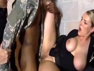 Black soldier fucking chubby white police officer as a punishment