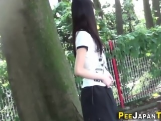 Japanese teen squatting