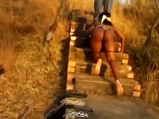 Submissive African girl Savannah gets blindfolded and spanked