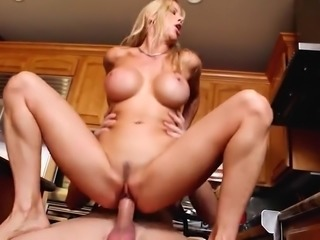 Blonde MILF Cums Hard On Huge Cock