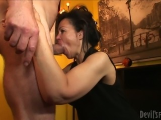 Aroused brunette hoe Elektra Lamour sucks and rides hard dick