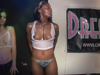 Glorious Babes Go Wild Showing Their Wet T-shits At A Club