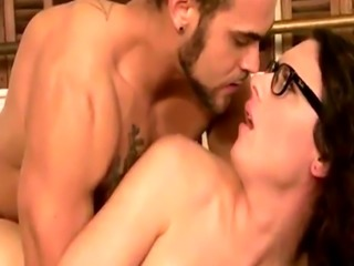 Big tits tgirl Riley Quinn with glasses gets her ass screwed