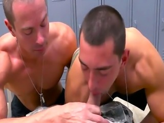 Two vey bad soldiers take care of their sergeant's big hard penis