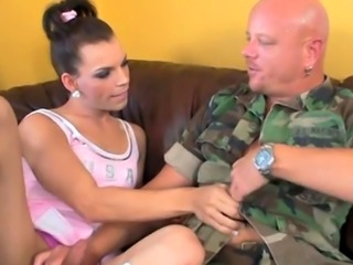 Tranny schoolgirl ass banging a soldier