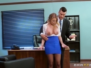 When she felt her boss's big dick pressing against her ass, she had to make a...