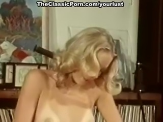 Hot blonde vintage babes share one man for classic threesome