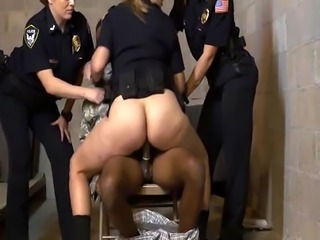 Blonde cop Joslyn riding black soldier schlong