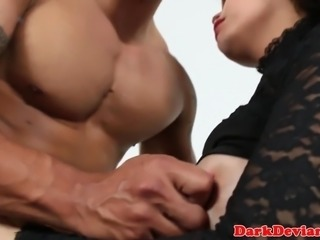 Chubby ladyboy ass plowed by black hunk