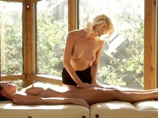 Alluring lesbian babe getting her pussy licked then fingered after getting an...