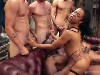Believe me, this naughty ebony babe enjoys all these huge penises and...