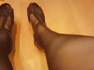 Showing of my stockings and heels hehe