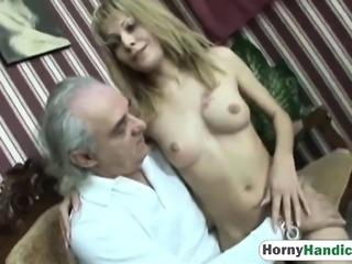 Old amputee enjoys banging slutty blonde babe