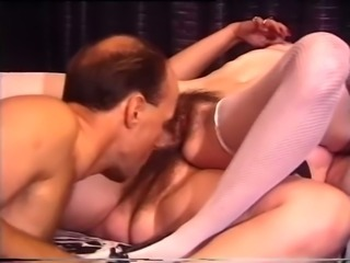 Two brunette wicked sluts share one mature guy for threesome