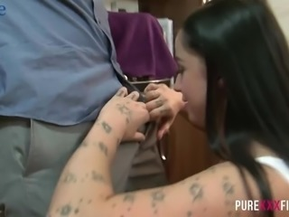 Impressively horny Kimmie Foxx bends over the kitchen counter to be fucked