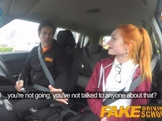 Fake Driving School Redhead Ella Hughes eats instructors cum