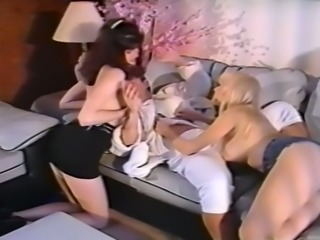 Busty brunette and pale skin redhead share one prick