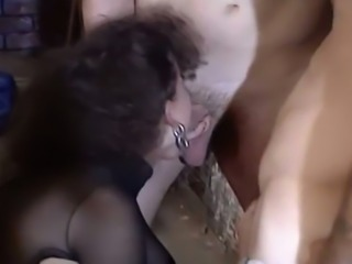 Exquisite and beautiful brunette babe enjoys rough gangbang