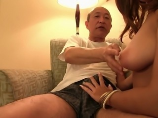 This naughty Japanese cutie is about to give gramps a rocking good time in...
