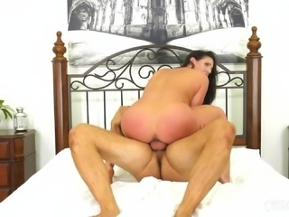 Amazing reverse cowgirl pussy smashing with slutty Angela White