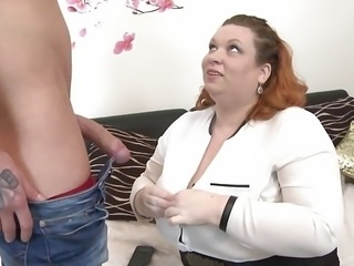Huge BBW mother seduce young skinny son