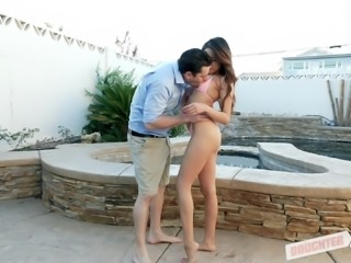 Shavelle Love bends over for a prick during an outdoor shag