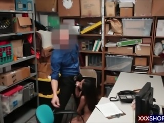 Teen asian shoplifter gets fucked by the mall officer