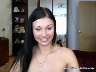 Super gorgeous amatuer brunette strips naked on cam