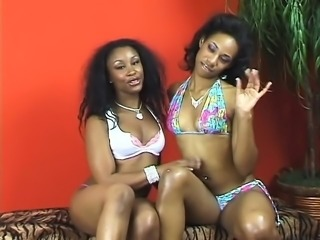 Busty diva french kisses thick ebony lesbian lover then lick