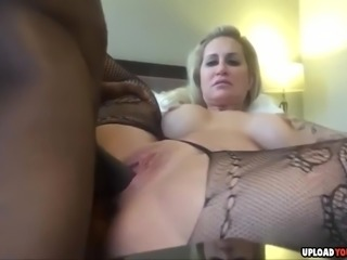 Horny big boobed MILF gets fucked by big black dick and creampied