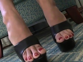 Hawt interracial foot fetish with fleshly foot licking