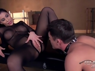 mistress uses slave to pleasure her pussy