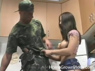 Dick craving brunette's pussy is all a soldier wants to plow
