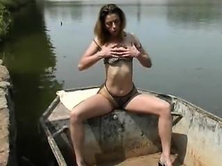 Nasty European babe outdoor gangbang