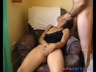 Horny milf rubs her clit, fingers her plump pussy and then gets joined by an...