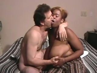Dark skinned busty plump housewife gives a terrific blowjob
