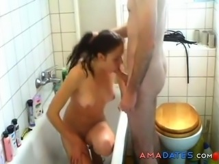 Hot brunette wife enjoys sex in bath