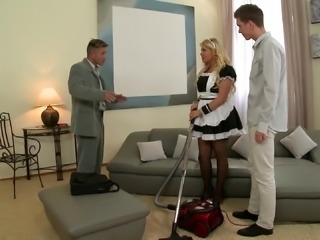 Tattooed blonde mom in maid uniform gets double teamed indoors