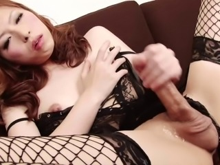 Stunningly beautiful Japanese lingerie babe has a hot cock