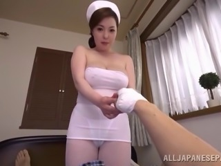 Inrcredibly cute Japanese babe getting a nice titty fuck
