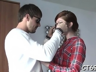 Pleasing bitch definitely knows how to make gentle blowjob