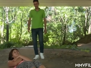 Adventurous German nympho July Johnson gets fucked doggy outdoors