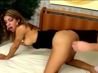 Tall and tanned ladyboy Agatha De Melo gets rid of pink panties to win dick