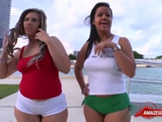 Latin pornstar threesome and facial
