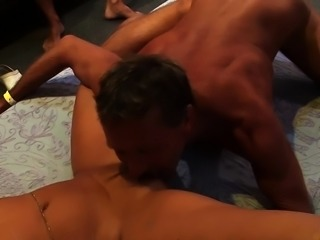 Grandma nailed in orgy